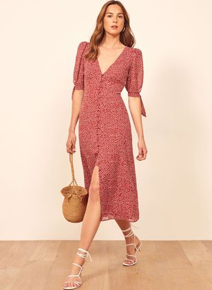 Floral Buttons Peasant Midi X-line Dress