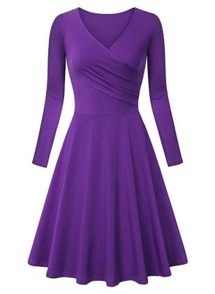 Basic Solid V-Neckline Knee-Length X-line Dress (146718440)