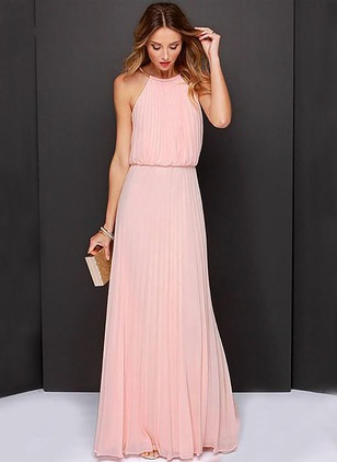 Solid Tank Sleeveless Maxi A-line Dress