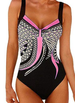 Spandex Polyester Color Block One-piece Swimwear (1478091)