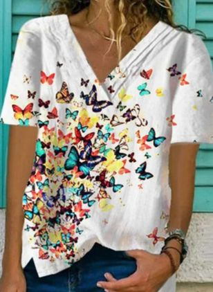 Animal Casual V-Neckline Short Sleeve Blouses (4363131)