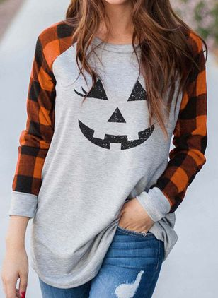 Color Block Round Neck Long Sleeve Halloween T-shirts (108859017)