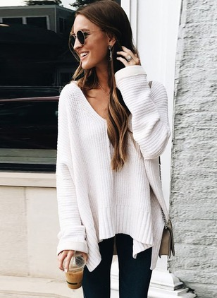 Knitted V-Neckline Solid Loose None Sweaters
