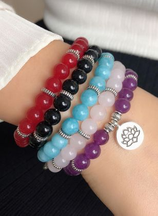 Casual Floral Ball Round Crystal Beaded Bracelets (4088924)