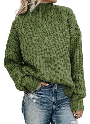 High Neckline Solid Casual Regular Shift Sweaters (101986847)