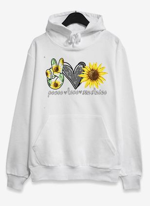 Floral Casual Hooded Pockets Sweatshirts (107562691)