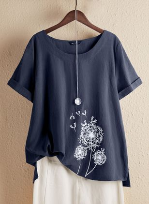 Floral Round Neck Short Sleeve Casual T-shirts (4864509)