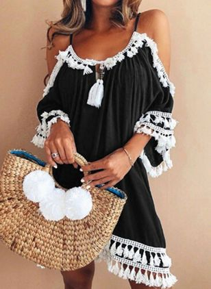 Solid Tassel Half Sleeve Knee-Length Shift Dress