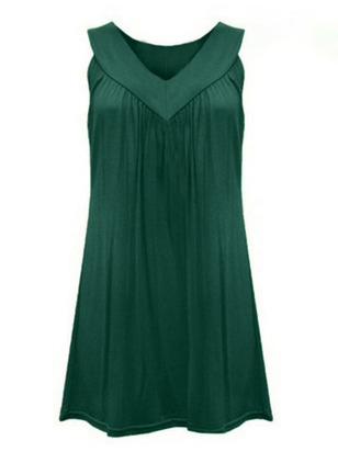 Solid Ruffles V-Neckline Sleeveless Shift Dress
