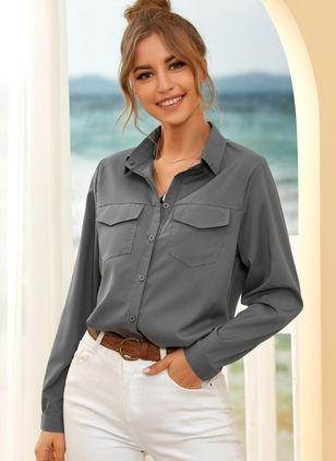 Solid Casual Collar Long Sleeve Blouses (107423091)