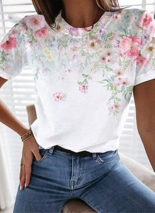 Floral Round Neck Short Sleeve Casual T-shirts (147429384)