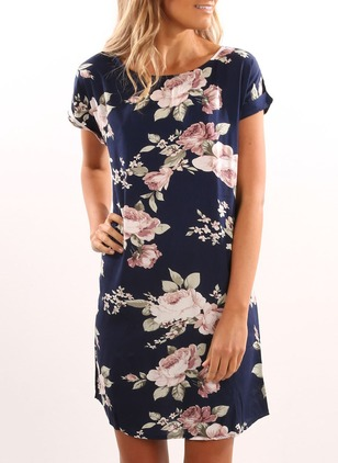 Floral Tshirt Short Sleeve Shift Dress