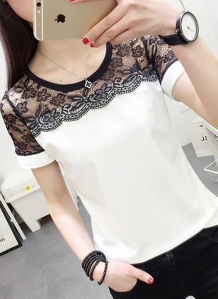 Color Block Casual Round Neckline Short Sleeve Blouses