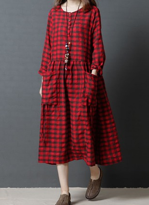 Linen Plaid Long Sleeve Midi Dresses