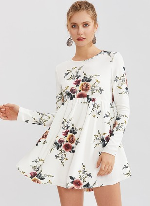 Cotton Floral Long Sleeve Mini Dresses
