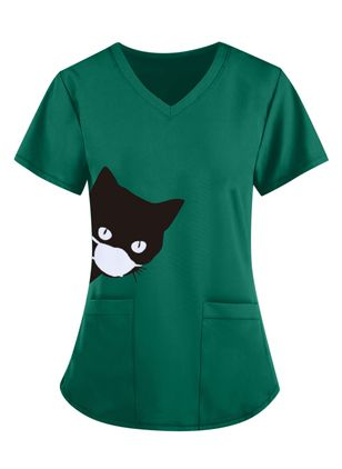 Animal V-Neckline Short Sleeve Casual T-shirts (147220680)