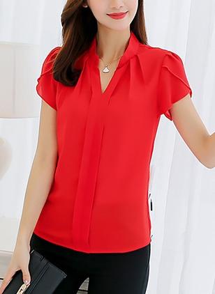 Solid Casual Polyester V-Neckline Short Sleeve Blouses