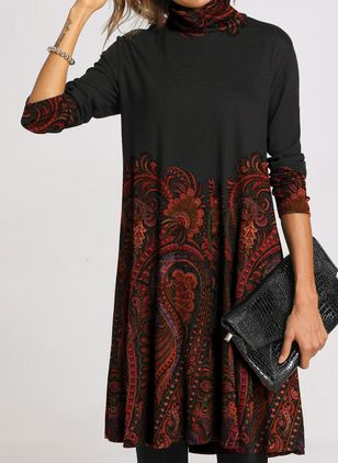 Casual Floral Tunic High Neckline Shift Dress (108088663)