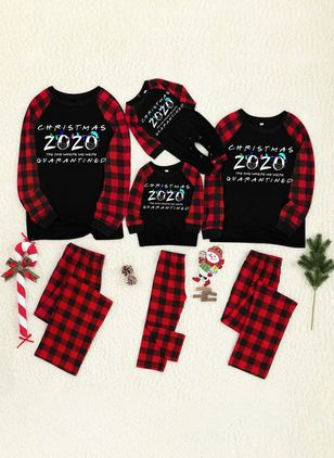 Family Look Alphabet Casual Long Sleeve Family Outfits (146679932)