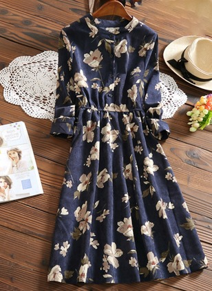 Floral Embroidery Tshirt Knee-Length A-line Dress