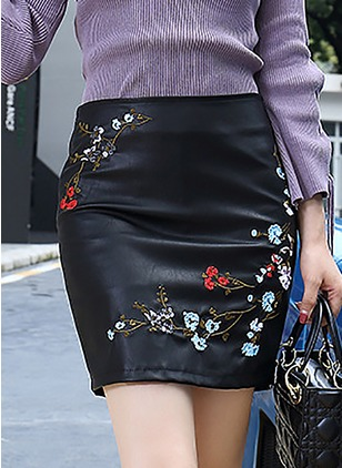 PU Floral Above Knee Casual Skirts