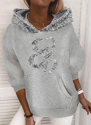 Solid Casual Round Neckline Sequins Pockets Sweatshirts (146781355)