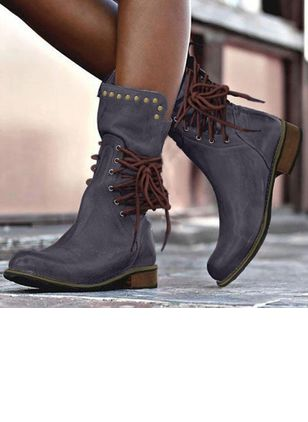 Women's Lace-up Flats Flat Heel Boots