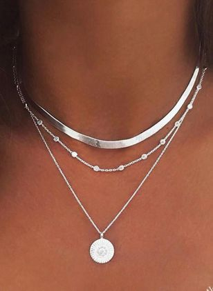 Casual Round No Stone Pendant Necklaces (147949176)