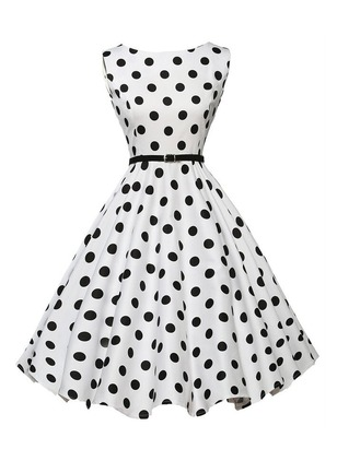 Cotton Blends Polka Dot Sleeveless Knee-Length Dresses
