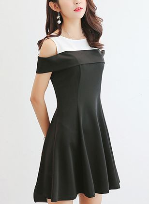 Color Block Skater Short Sleeve Above Knee A-line Dress
