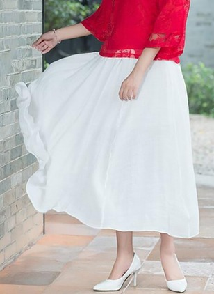 Cotton Solid Maxi Cute Ruffles Skirts
