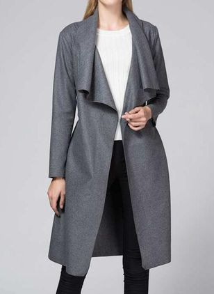Long Sleeve Lapel Sashes Trench Coats (122030742)