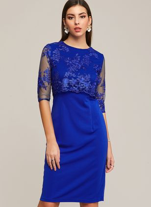 Plus Size Elegant Solid Round Neckline Midi X-line Dress (1398832)