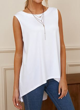 Solid Round Neck Sleeveless Summer T-shirts (146964116)