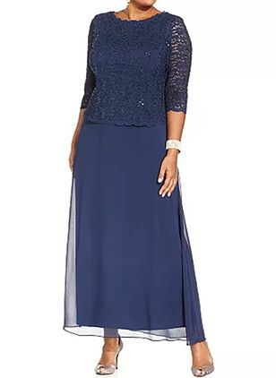 Plus Size Tunika Solid Rund hals Casual Lace Plus Kjoler (1381903)