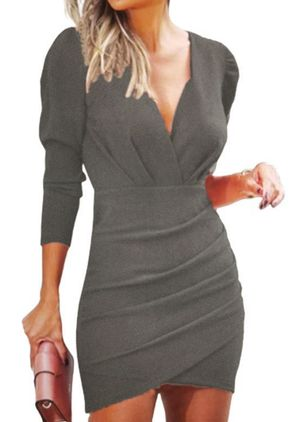 Casual Solid Pencil V-Neckline Bodycon Dress (146678870)
