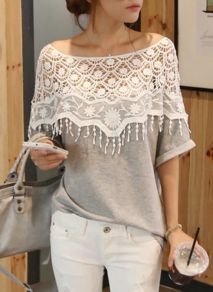 Color Block Round Neck Half Sleeve Casual T-shirts