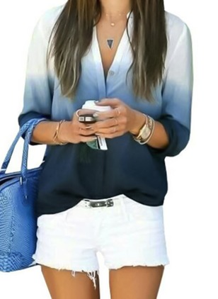 Color Block Casual Long Sleeve Blouses