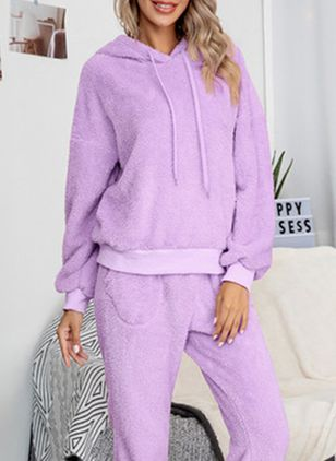 Hooded Plain Pockets Loungewear (146762093)