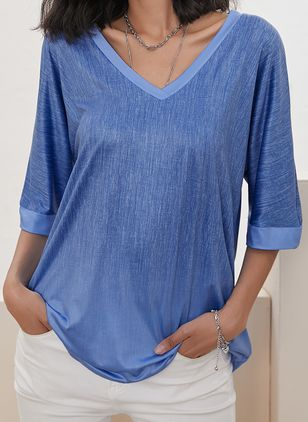Solid Casual V-Neckline 3/4 Sleeves Blouses (146966813)