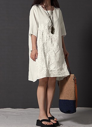 Cotton Solid Embroidery Half Sleeve Shift Dress