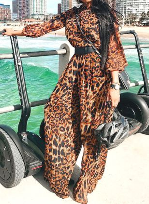 Leopard Long Sleeve Jumpsuits & Rompers