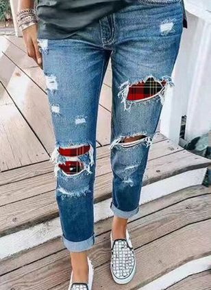 Casual Recht Hoge taille Denim Jeans (146741990)