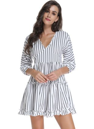 Stripe Ruffles 3/4 Sleeves Above Knee A-line Dress
