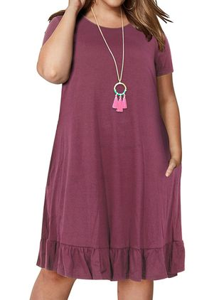 Plus Size Casual Solid Tunic Round Neckline A-line Dress (1527988)