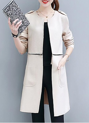 Cotton & Cotton Blend Long Sleeve Round Neck Coats