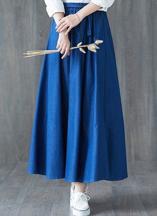 Solid Maxi Casual Skirts (106821389)