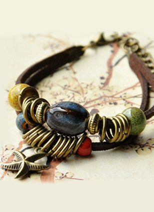 Casual Round Gemstone Bangle Bracelets (1416648)