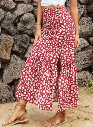 Floral Mid-Calf Casual Buttons Skirts (4048329)