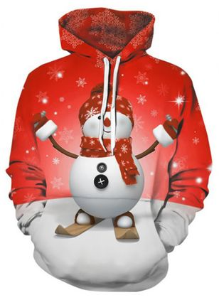Character Christmas Hooded Pockets Sweatshirts